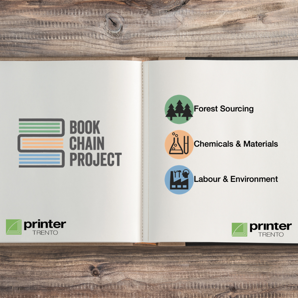 Book that shows Book Chain Project with its values and the logo of printer trento